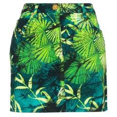 Versace Spring 2020 Runway Verde Jungle Print Denim Mini Skirt Size 38