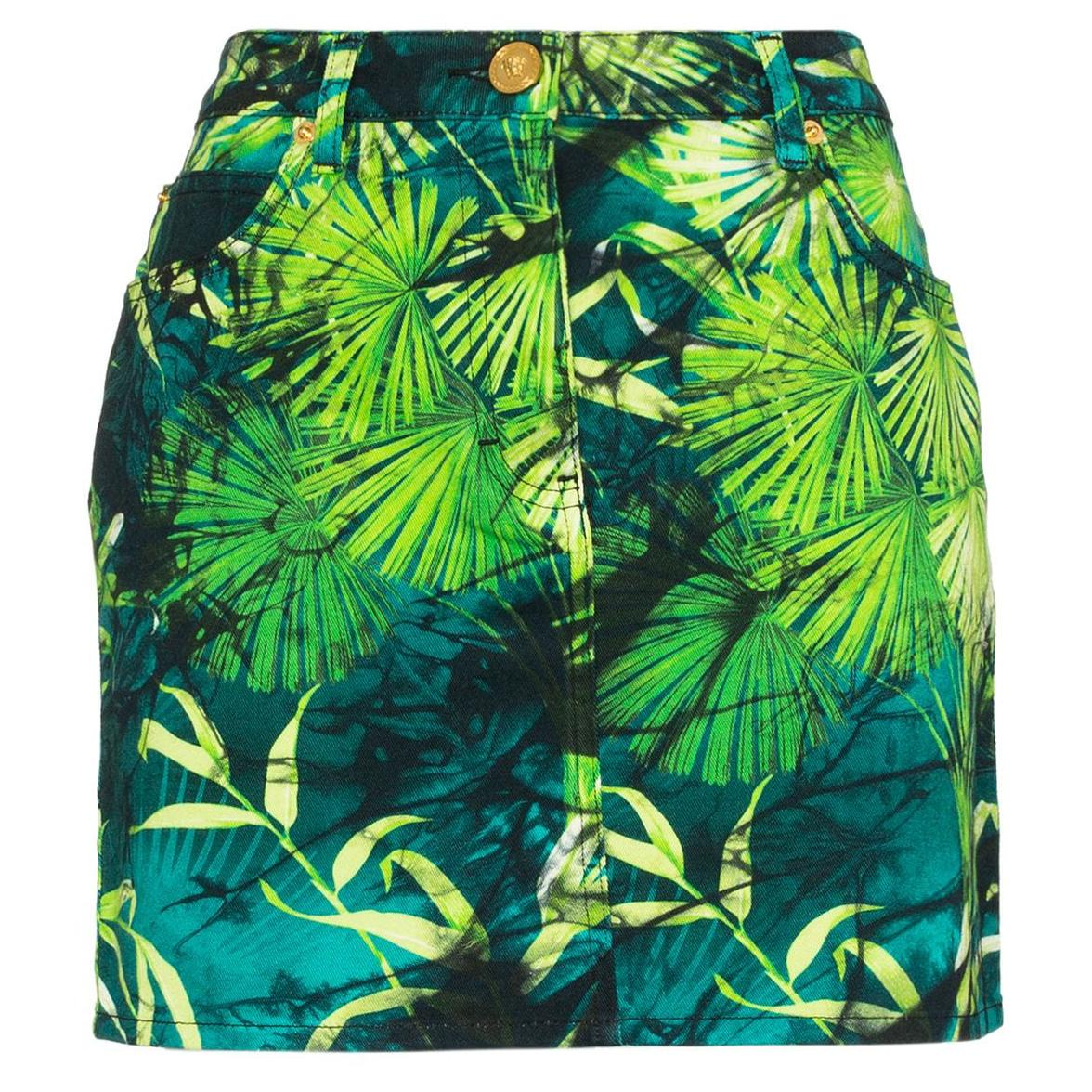 Versace Spring 2020 Runway Verde Jungle Print Denim Mini Skirt Size 40