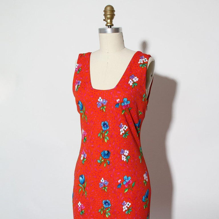 Versace Spring Summer 1993 Floral Jersey Maxi Dress In Excellent Condition For Sale In Los Angeles, CA
