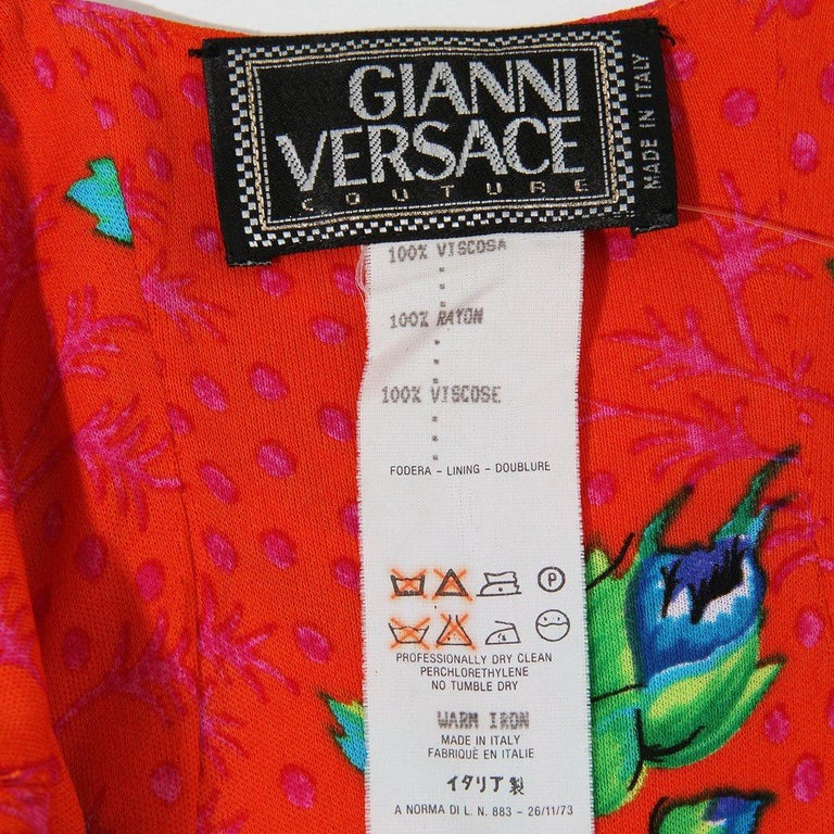 Versace Spring Summer 1993 Floral Jersey Maxi Dress For Sale 4