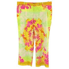 VERSACE SS 2004 Size 10 Yellow Green & Purple Toile Baroque Orchid Print Pants