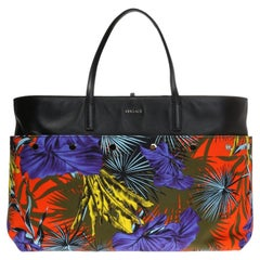 Versace SS18 Multicolor Desert Palm Shopping Tote Bag with Leather Straps