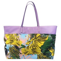 Versace SS18 Multicolor Lilac Desert Palm Shopping Tote Bag with Leather Straps