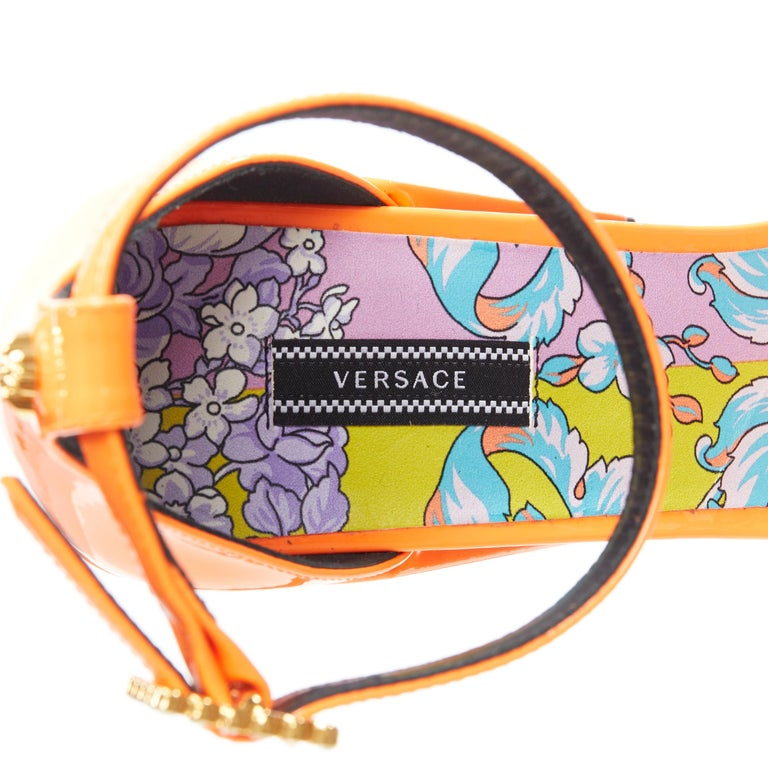 VERSACE SS19 Runway neon orange open toe square chunky heel sandals EU40 For Sale 6