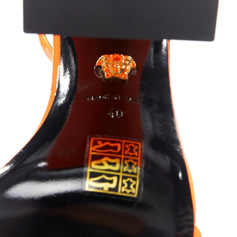 VERSACE SS19 Runway neon orange open toe square chunky heel sandals EU40 For Sale 7