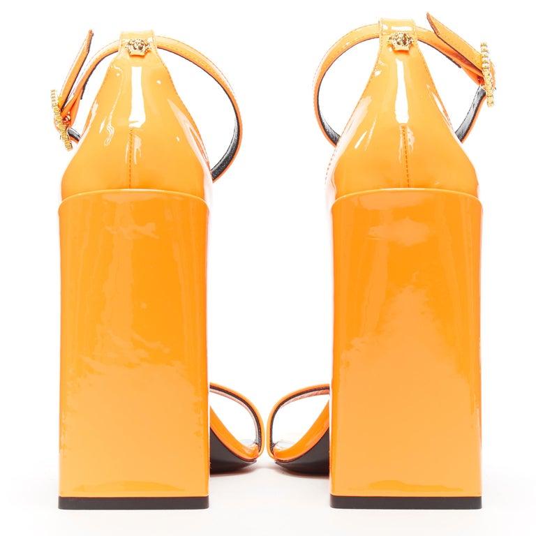 Women's VERSACE SS19 Runway neon orange open toe square chunky heel sandals EU40 For Sale