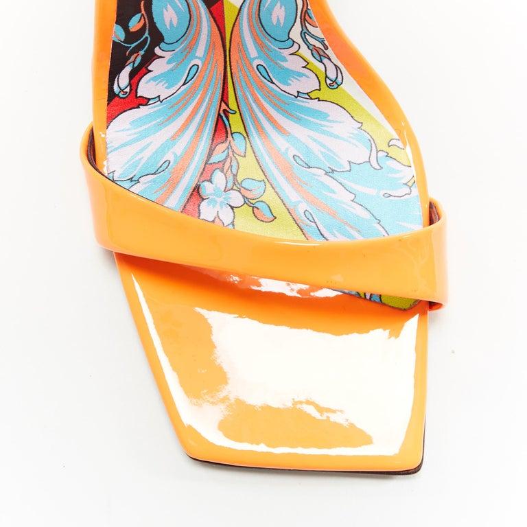 VERSACE SS19 Runway neon orange open toe square chunky heel sandals EU40 For Sale 2