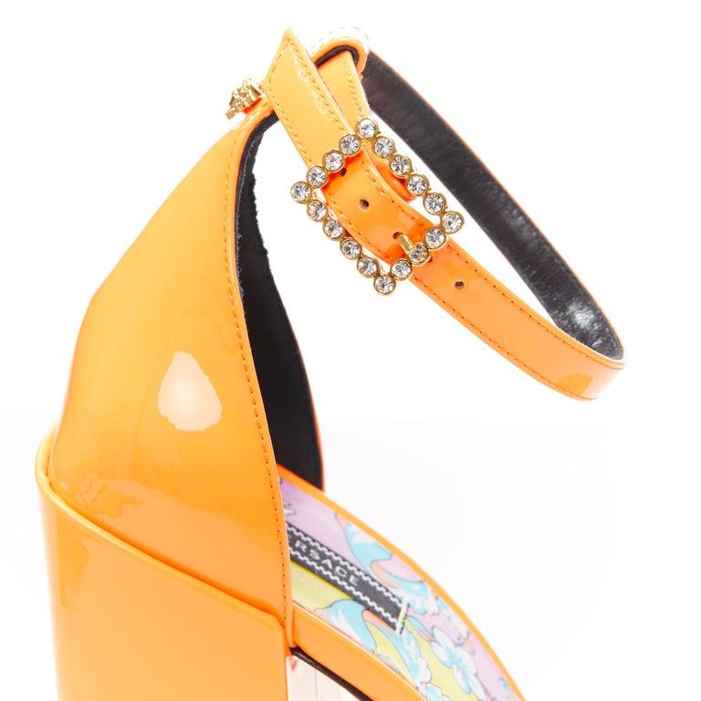 VERSACE SS19 Runway neon orange open toe square chunky heel sandals EU40 For Sale 3