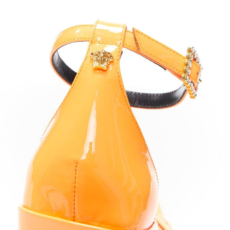 VERSACE SS19 Runway neon orange open toe square chunky heel sandals EU40 For Sale 4
