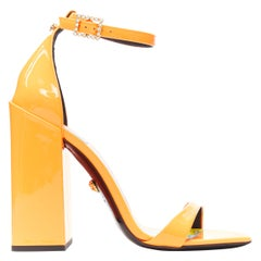 VERSACE SS19 Runway neon orange open toe square chunky heel sandals EU40