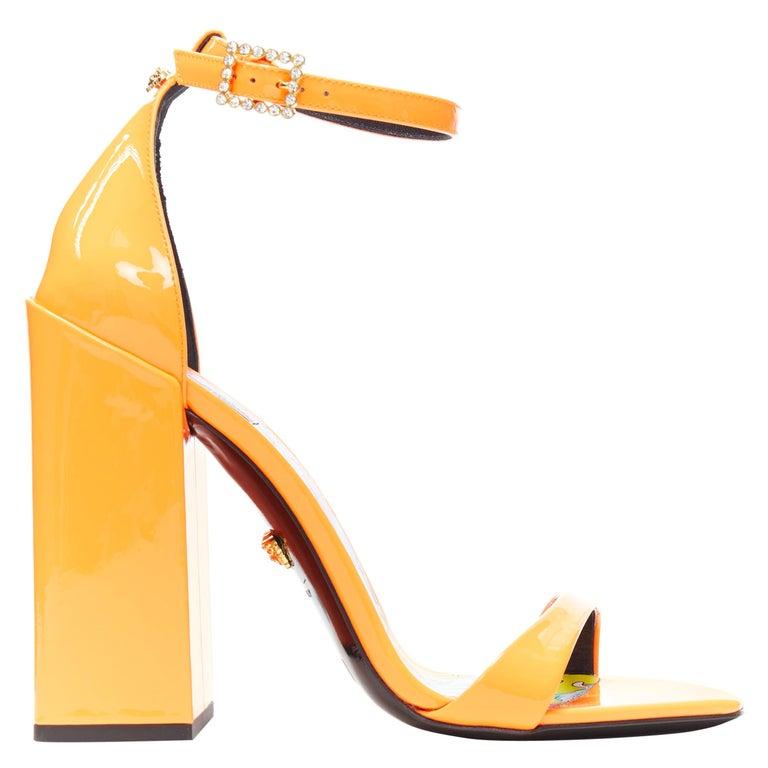 VERSACE SS19 Runway neon orange open toe square chunky heel sandals EU40 For Sale