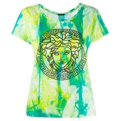 Versace SS20 Runway Green Tie Dye Medusa Short Sleeve T-Shirt Size 40