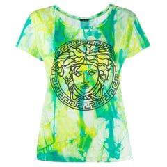 Versace SS20 Runway Green Tie Dye Medusa Short Sleeve T-Shirt Size 42