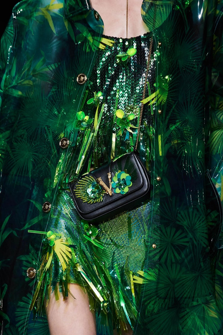 Versace SS20 Runway Virtus Green Beaded Embellished Black Leather Crossbody Bag 6
