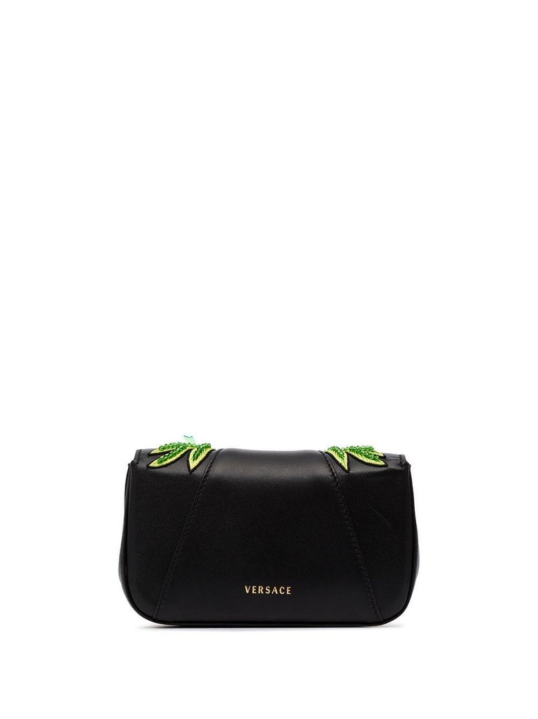 Versace SS20 Runway Virtus Green Beaded Embellished Black Leather Crossbody Bag  What do your phone, your wallet, an old lipstick and some emergency snacks have in common? They all belong in this Virtus crossbody bag from the Versace Spring 2020