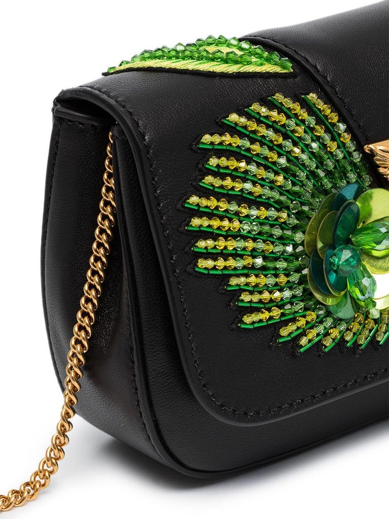 Versace SS20 Runway Virtus Green Beaded Embellished Black Leather Crossbody Bag In New Condition In Paradise Island, BS