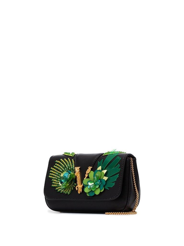 Women's Versace SS20 Runway Virtus Green Beaded Embellished Black Leather Crossbody Bag