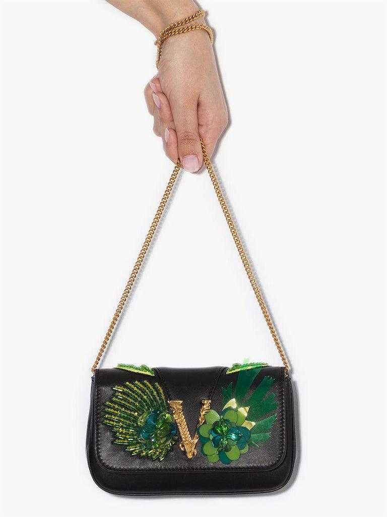 Versace SS20 Runway Virtus Green Beaded Embellished Black Leather Crossbody Bag 1