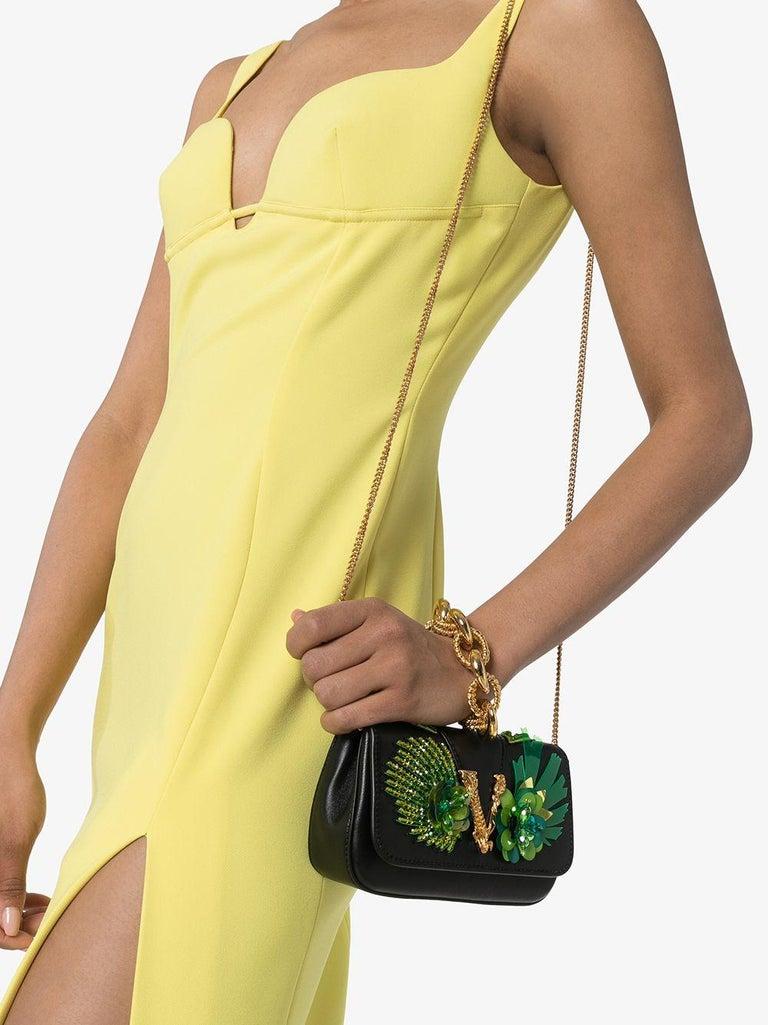 Versace SS20 Runway Virtus Green Beaded Embellished Black Leather Crossbody Bag 4