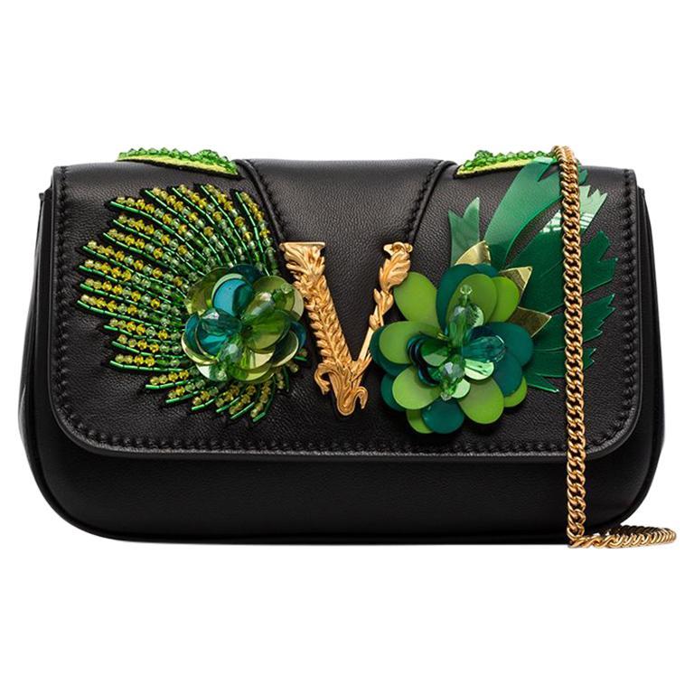 Versace SS20 Runway Virtus Green Beaded Embellished Black Leather Crossbody Bag