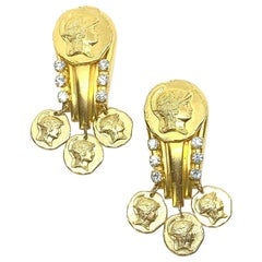 Versace Style Clips In Gold And Rhinestones