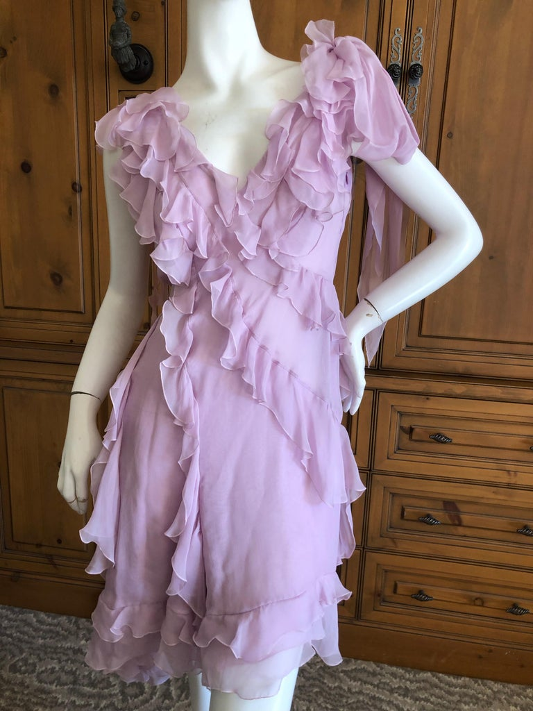Versace Sweet Silk Chiffon Pink Ruffled Cocktail Dress from Spring 2004. Donatella's strongest collection, this is so very pretty Size 42 Bust 38