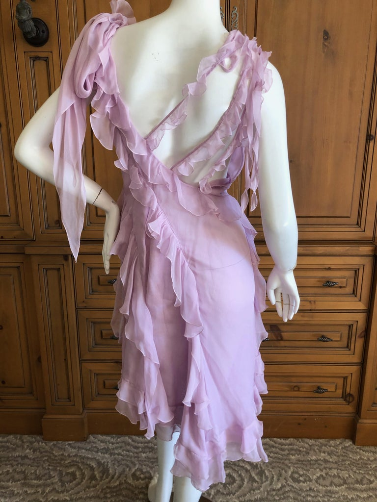 Versace Sweet Silk Chiffon Pink Ruffled Cocktail Dress from Spring 2004 In Excellent Condition For Sale In San Francisco, CA