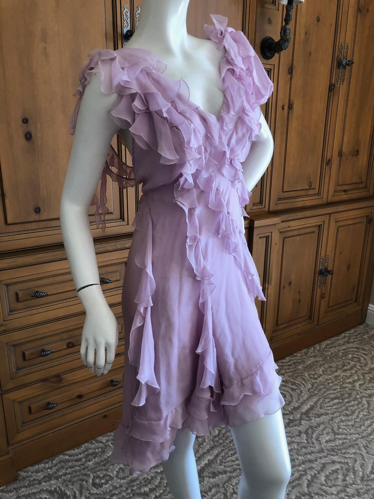 Women's Versace Sweet Silk Chiffon Pink Ruffled Cocktail Dress from Spring 2004 For Sale