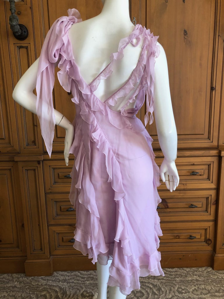 Versace Sweet Silk Chiffon Pink Ruffled Cocktail Dress from Spring 2004 For Sale 2