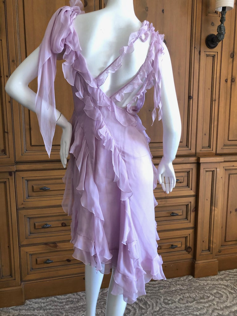 Versace Sweet Silk Chiffon Pink Ruffled Cocktail Dress from Spring 2004 For Sale 3