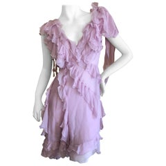 Versace Sweet Silk Chiffon Pink Ruffled Cocktail Dress from Spring 2004