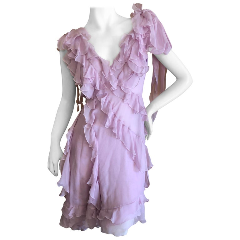 Versace Sweet Silk Chiffon Pink Ruffled Cocktail Dress from Spring 2004 For Sale