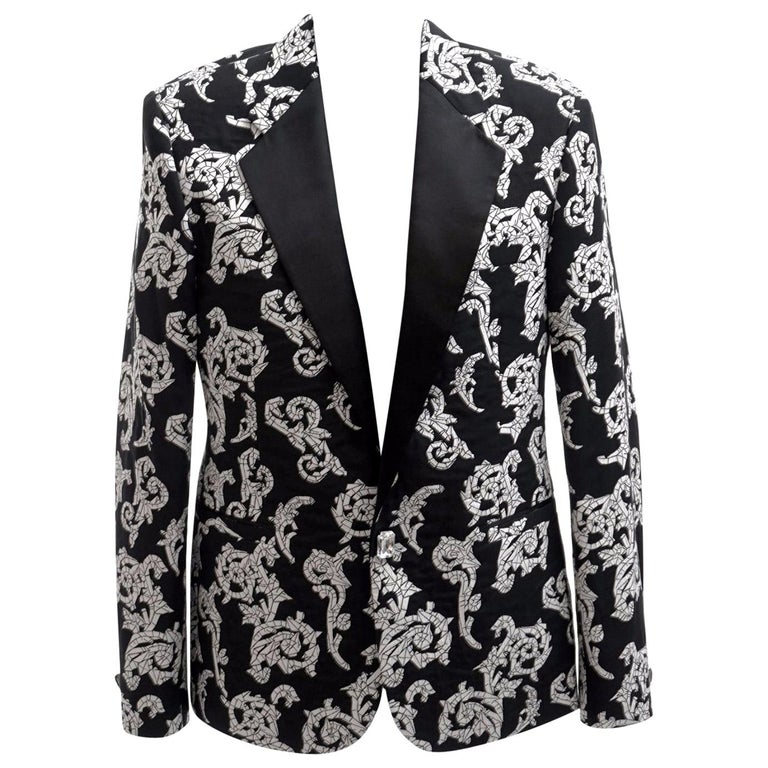 VERSACE TAILOR MADE TUXEDO BLAZER JACKET with CRYSTAL BUTTONS for MEN For Sale