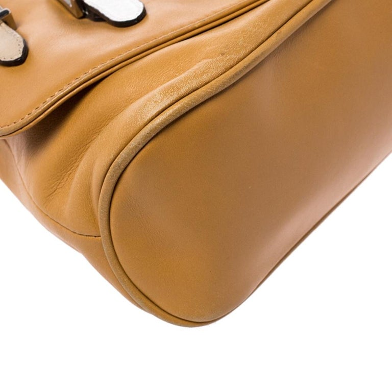 Versace Tan Leather Flap Strap Satchel For Sale 3
