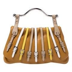 Versace Tan Leather Flap Strap Satchel