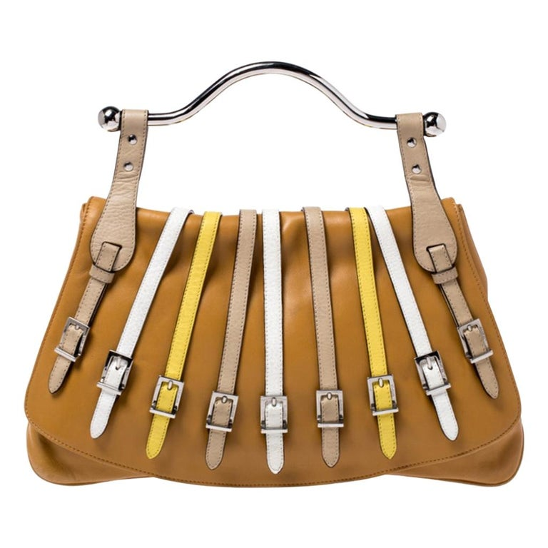 Versace Tan Leather Flap Strap Satchel For Sale