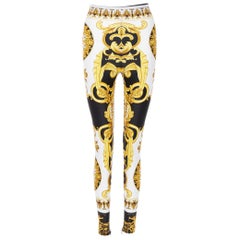 VERSACE Tribute Baroque SS92 gold black cherub strech legging pants IT38