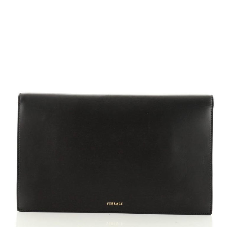Versace Tribute Medallion Flap Clutch Leather Medium  In Good Condition In New York, NY