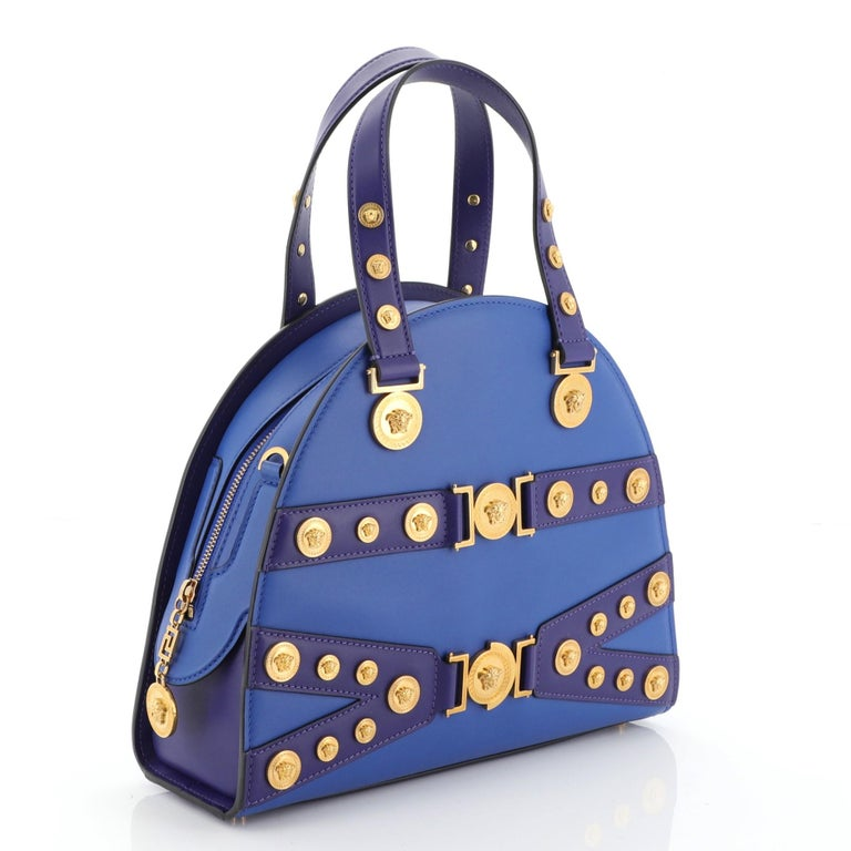 Versace Tribute Medallion Handbag Leather Medium In Good Condition For Sale In New York, NY