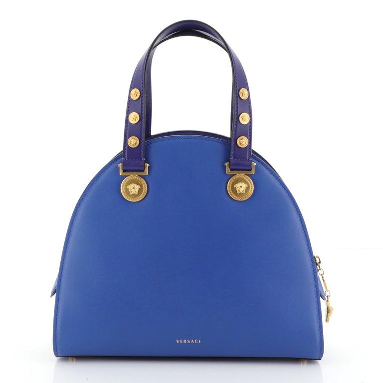 Women's or Men's Versace Tribute Medallion Handbag Leather Medium For Sale