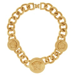 Versace Triple Medusa Charm 24K Gold Plated Chain Necklace as seen on Bella