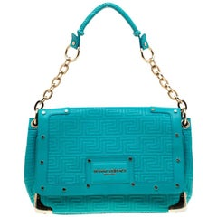 Versace Turquoise Leather Flap Shoulder Bag