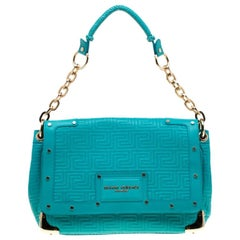 Versace Turquoise Leather Flap Shoulder Bag
