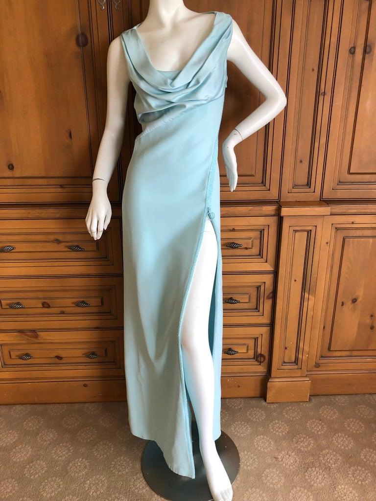 Versace Turquoise Vintage Evening Dress w Swarovski Crystal Bead