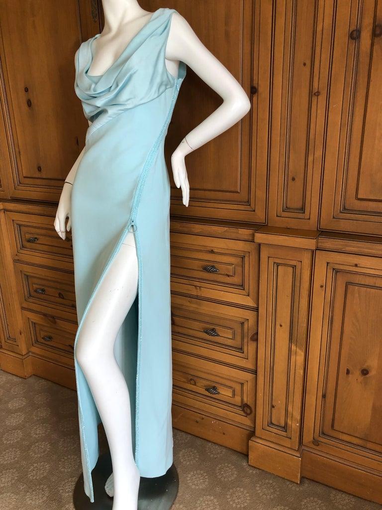 Versace Turquoise Vintage Evening Dress w Swarovski Crystal