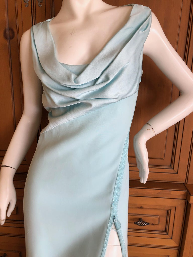 Women's Versace Turquoise Vintage Evening Dress w Swarovski Crystal