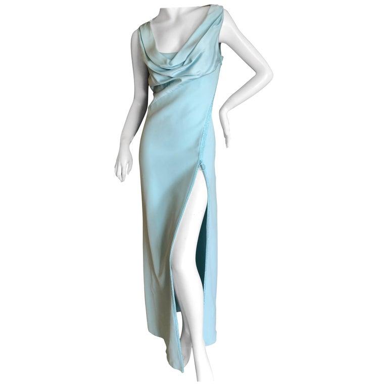 "Versace Turquoise Vintage Evening Dress w Swarovski Crystal ""Zipper"" Trim Sz 46"
