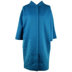 VERSACE Turquoise Wool BUSTIER DRESS & COAT Set SUIT 2007 Fall Collection 40
