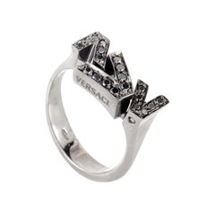 Versace V-Divine 18 Karat White Gold Black Diamond Band Ring