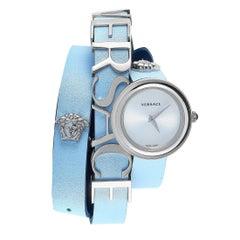 Versace V-Flare Light Blue Double Wrap Watch VEBN00118